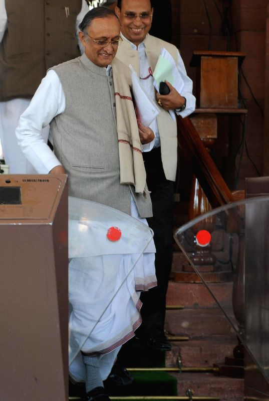West Bengal Finance Minister Amit Mitra at the Parliament in New Delhi, on March 10, 2015.
