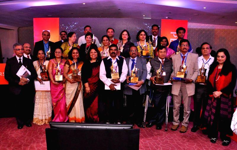 Winners of the Pearson Teaching Awards in New Delhi on Feb 12, 2015.
