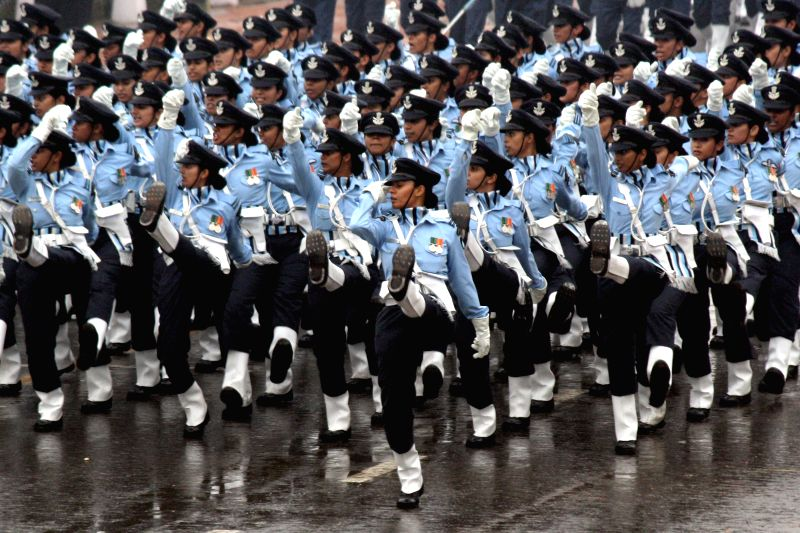 Women officers of the Indian Air force march for the first time on Rajpath during Republic Day Parade in New Delhi, on Jan 26, 2015.