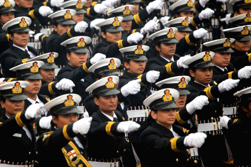 Women officers of the Indian Navy march on Rajpath during Republic Day celebrations for the first time in New Delhi, on Jan 26, 2015.