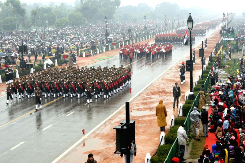 Women Soldiers march on Rajpath during Republic Day celebrations  in New Delhi, on Jan 26, 2015.