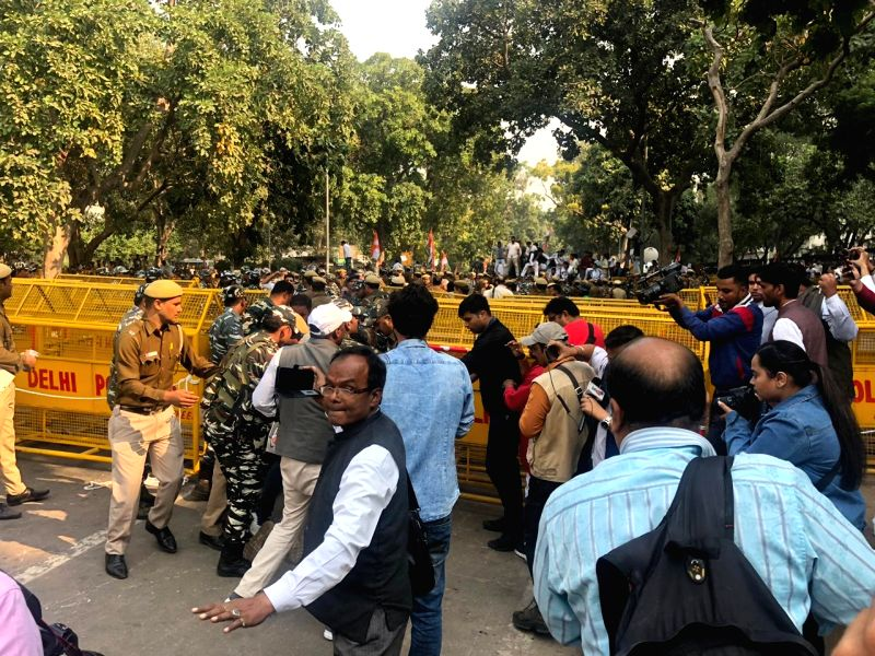 New Delhi: Youth Congress activists being taken away during their Parliament 'gherao' to protest against the government's decision to withdraw the Special Protection Group (SPG) cover off its top leaders, especially from the Gandhi family -- that of