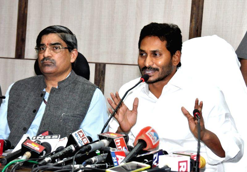 New Delhi: YSR Congress Party leader Jaganmohan Reddy addresses a press conference in New Delhi, on May 26, 2019. (Photo: IANS)