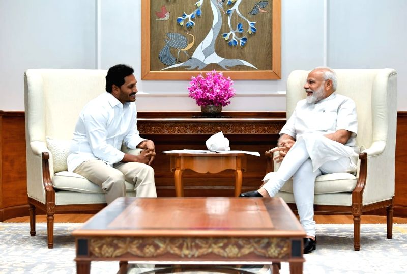 New Delhi: YSR Congress Party leader Jaganmohan Reddy meets Prime Minister Narendra Modi in New Delhi, on May 26, 2019. (Photo: IANS)