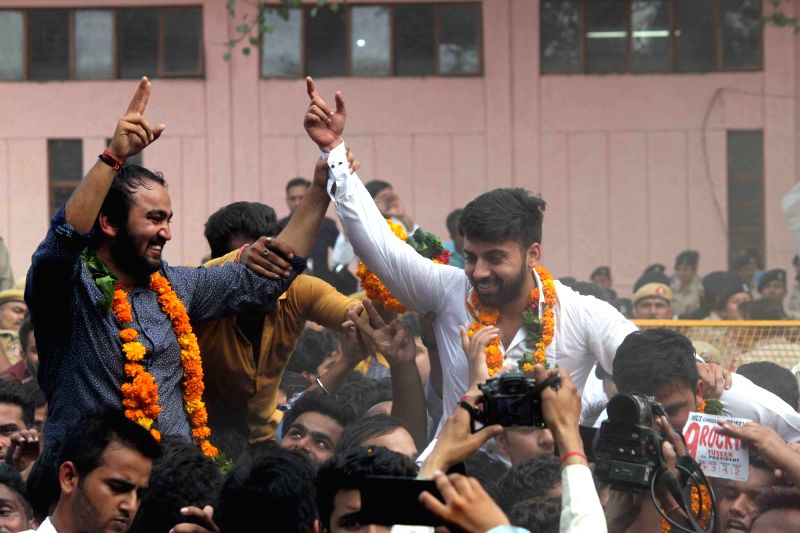 New DUSU president Rocky Tuseed and vice-president Kumal Sehrawat along celebrate with fellow members after NSUI bagged the posts of President and Vice President in the Delhi University ...