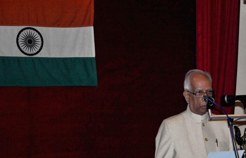 New Governor of West Bengal Keshari Nath Tripathi during Governor`s oath taking ceremony at Raj Bhawan in Kolkata on July 24, 2014.