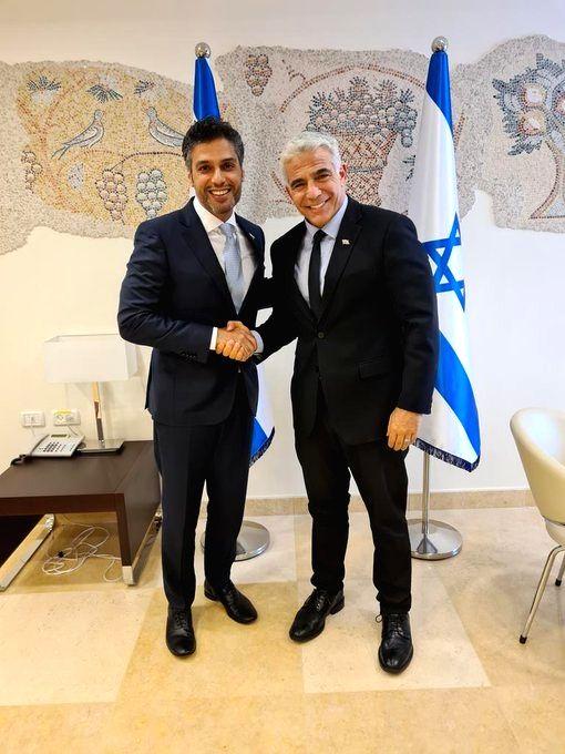 New Israeli Foreign Minister Yair Lapid meets Ambassador of the UAE to Israel, Muhammad Al Khaja.(pic credit: https://twitter.com/yairlapid)