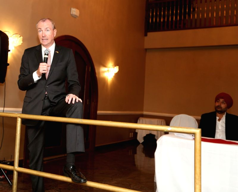 New Jersey: Democratic party Governor candidate Phil Murphy addresses during a fundraiser hosted for him by New Jersey Assemblyman Raj Mukherji in Rasooi 3 in New Jersey  on May 31, 2017.