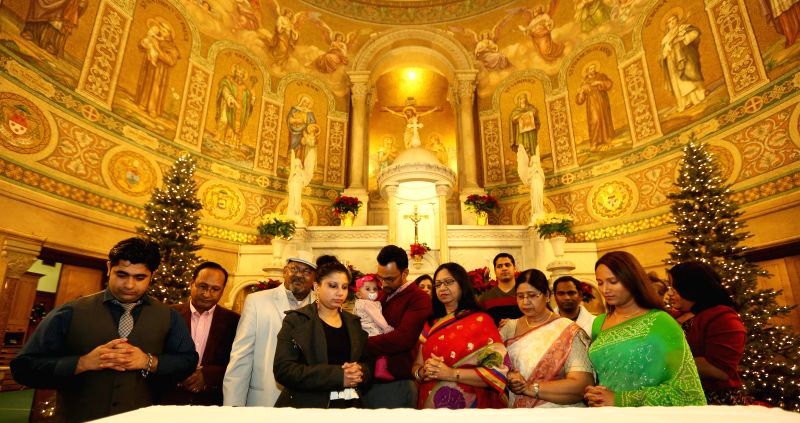 New Jersey: Indian Americans celebrate Christmas at Jersey City Catholic Church in New Jersey, US on Dec 25, 2014.