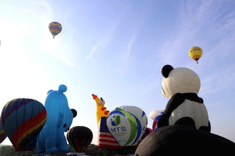 NEW JERSEY, July 28, 2018 - Balloons are seen during the media preview of the 36th Quickcheck New Jersey Festival of Ballooning in Readington of New Jersey, the United States, July 27, 2018. The ...