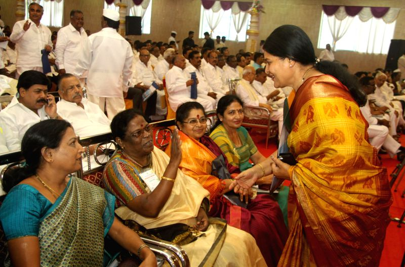 New MLC Jayamala greeting Motamma and others, during the Congress Representatives Meeting, at Palace Grounds, in Bangalore on June 28, 2014.