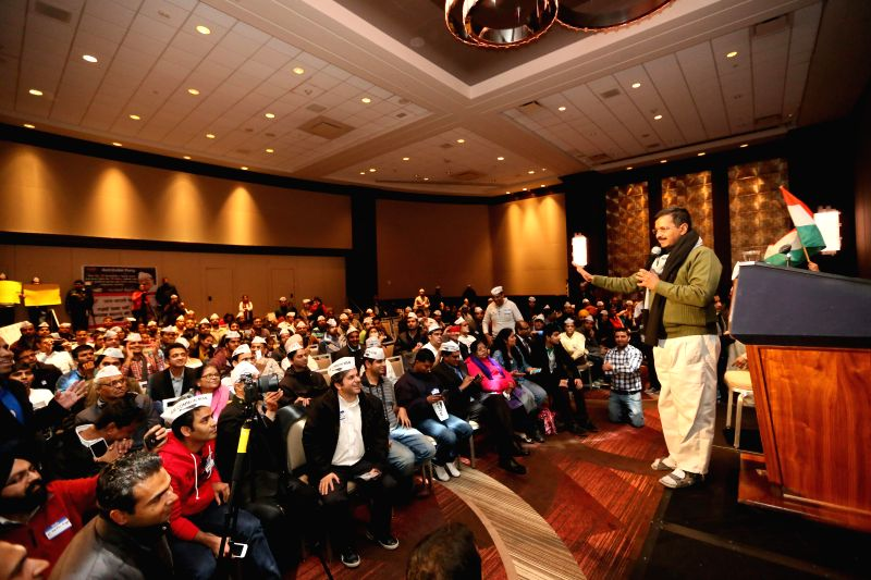 New York: Aam Aadmi Party (AAP) leader Arvind Kejriwal addresses Indian American Aam Aadmi party workers in New York on on Dec 7, 2014.