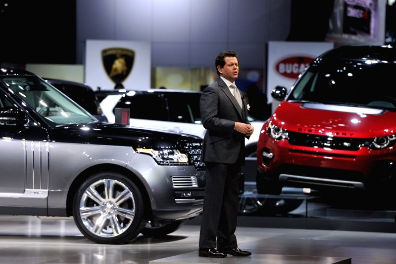 Gerry McGovern, Automotive Design Director of Land Rover, speaks during their press conference at New York International Auto Show in New York, the United States, ...