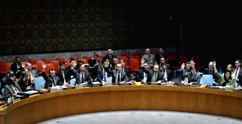 The United Nations Security Council votes on a draft resolution regarding the situation of the Central African Republic, at the UN headquarters in New York, on ..