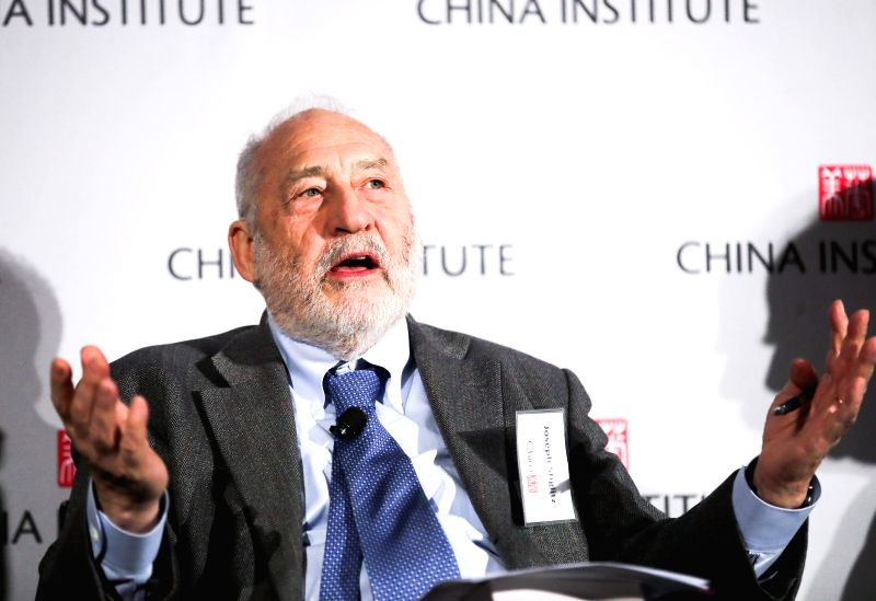"NEW YORK, April 12, 2018 - Nobel Prize-winning American economist Joseph Stiglitz speaks at a panel discussion, part of the China Institute 2018 Executive Summit, ""U.S.-China Business in the New ..."