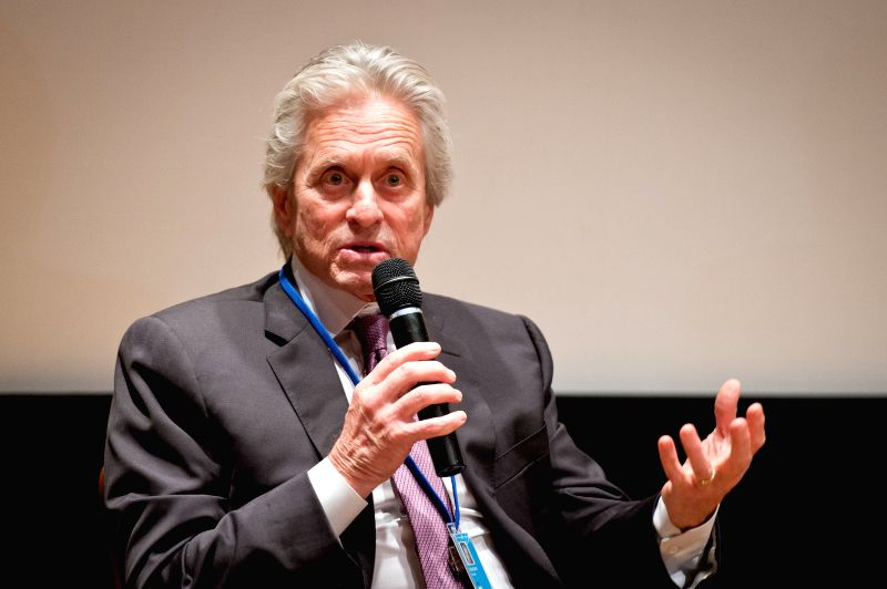 """United Nations Messenger of Peace Michael Douglas speaks during the launch of a book entitled """"Action for Disarmament: 10 Things You Can Do!"""", at the UN"""