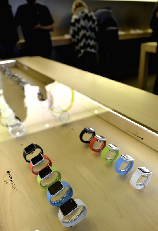 Photo taken on April 24, 2015 shows Apple Watches in New York, the United States. The Apple Watch goes on sale around the world on Friday.