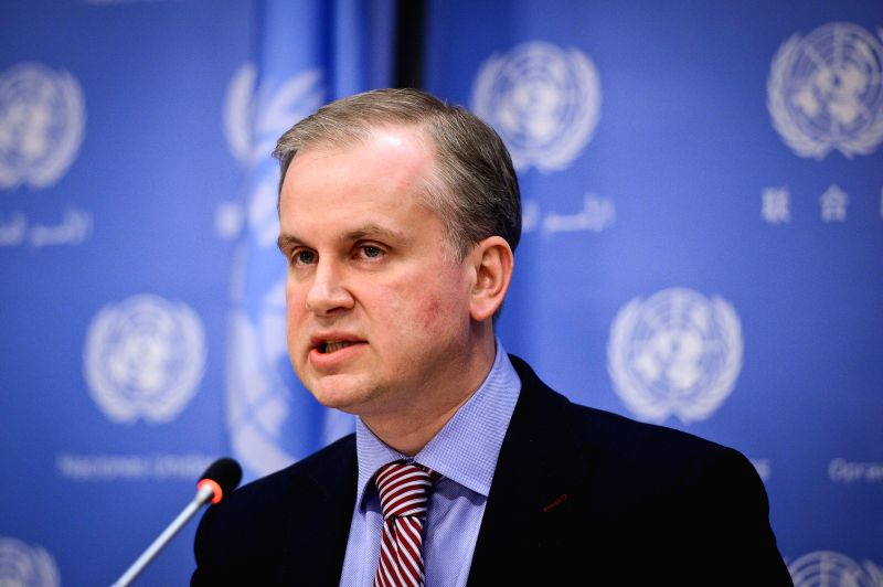 Ukrainian Deputy Foreign Minister Danylo Loubkiesky speaks during a press briefing at the United Nations headquarters in New York, on April 25, 2014. Danylo ...