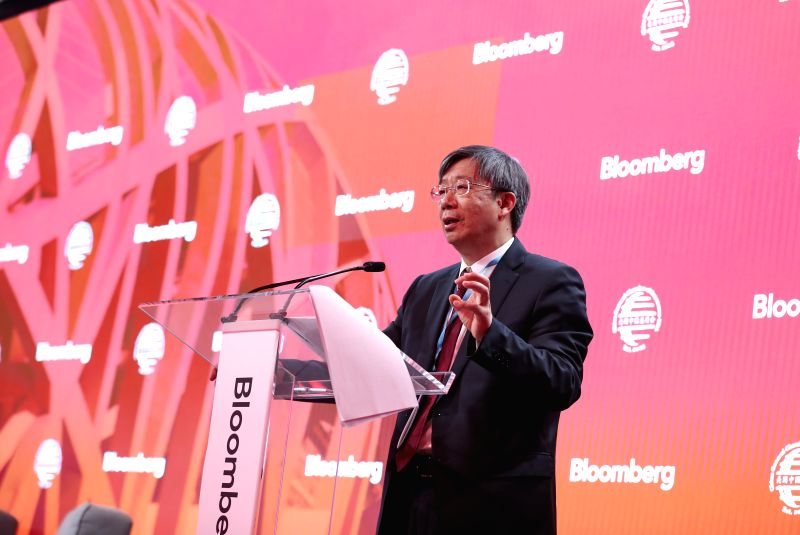 NEW YORK, April 25, 2017 - Yi Gang, deputy governor of China's central bank, delivers a speech at the International Finance and Infrastructure Forum in New York, the United States, on April 24, 2017. ...