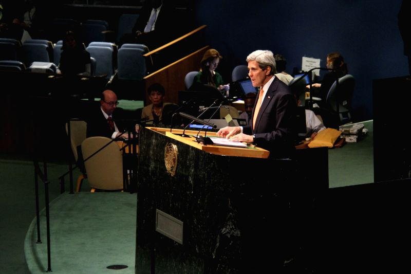 U.S. Secretary of State John Kerry addresses the 2015 Review Conference of the Parties to the Treaty on the Non-Proliferation of Nuclear Weapons (NPT) at the ...