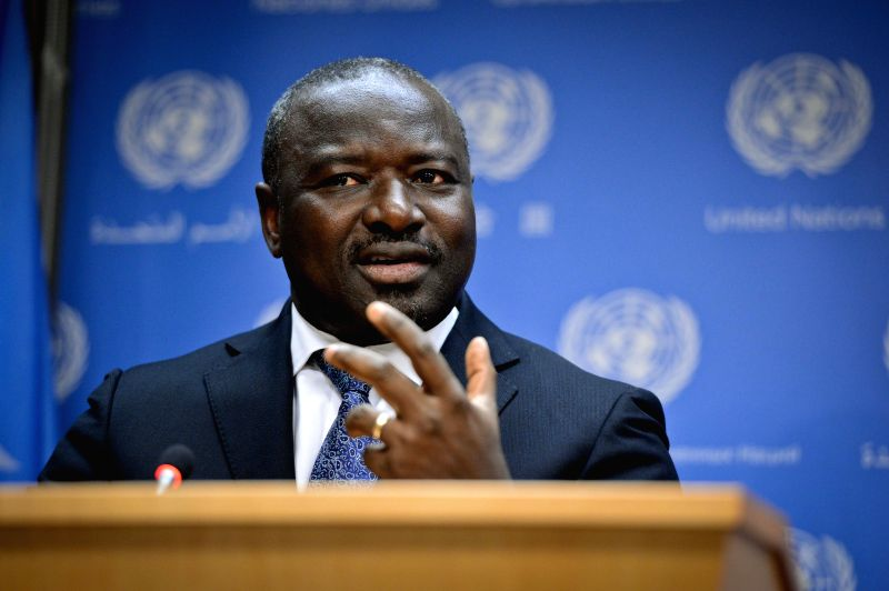 Lassina Zerbo, executive secretary of the Preparatory Commission for the Comprehensive Nuclear-Test-Ban Treaty Organization (CTBTO), briefs journalists at the ...