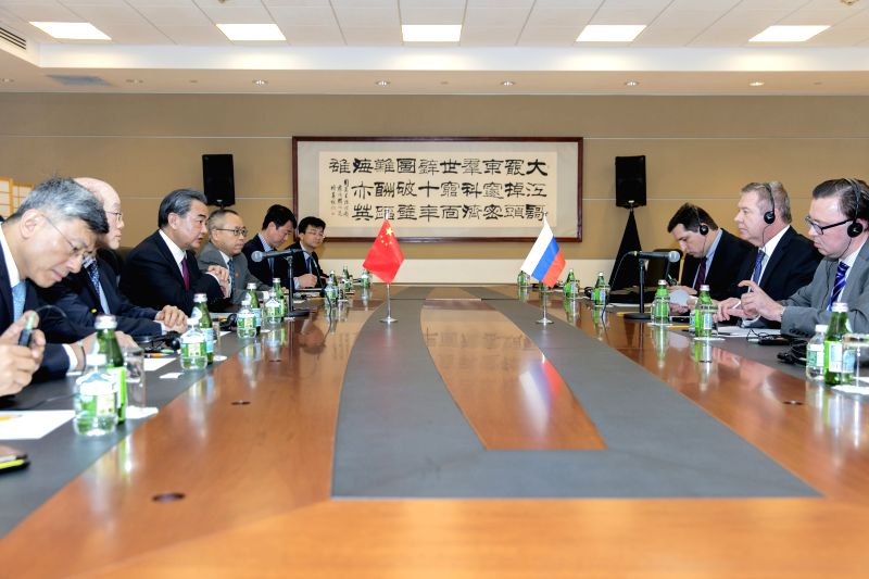 NEW YORK, April 28, 2017 - Chinese Foreign Minister Wang Yi (3rd L) meets with Russian Deputy Foreign Minister Gennady Gatilov (2nd R) ahead of a ministerial meeting of the UN Security Council on the ... - Wang Y