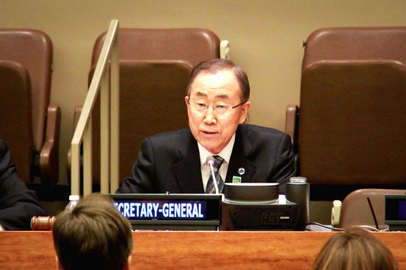 UN Secretary-General Ban Ki-moon speaks during an event in commemoration of the Rwanda Genocide, at the UN headquarters in New York, on April 7, 2015. (Xinhua/Niu ...