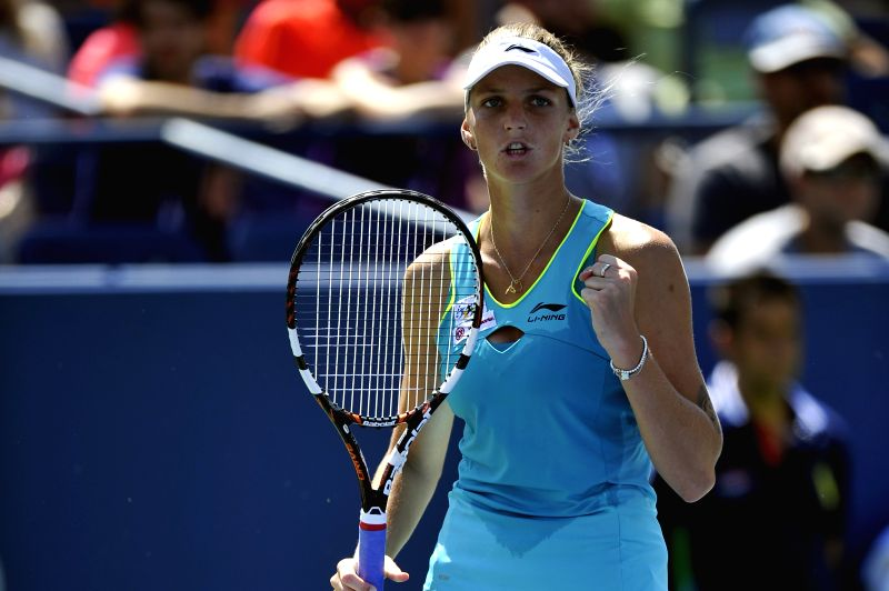 Karolina Pliskova of the Czech Republic jubilates during the second round match of women's singles against Ana Ivanovic of Serbia at the 2014 U.S. Open in New ...