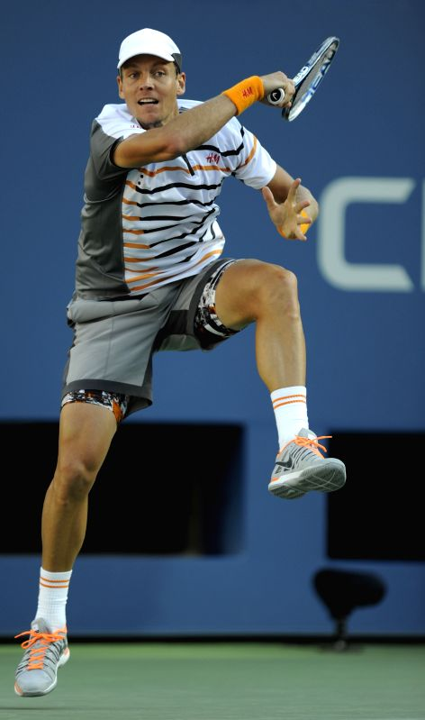 Tomas Berdych of the Czech Republic competes during the second round match of men's singles against Martin Klizan of Slovakia at the 2014 U.S. Open in New York ...