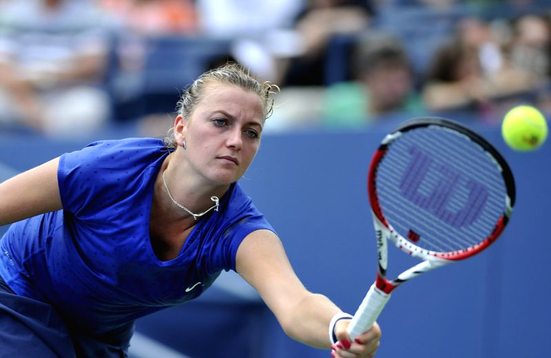 Petra Kvitova of the Czech Republic competes during the third round match of women's singles against Aleksandra Krunic of Serbia at the 2014 U.S. Open in New York,