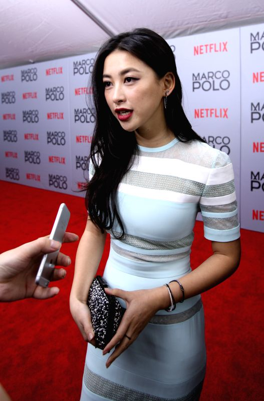 "New York: Chinese actress Zhu Zhu receives an interview before the premiere of the new Netflix series ""Marco Polo"" at AMC Lincoln Square in New York, the United States, on Dec. 2, 2014. ... - Zhu Zhu"