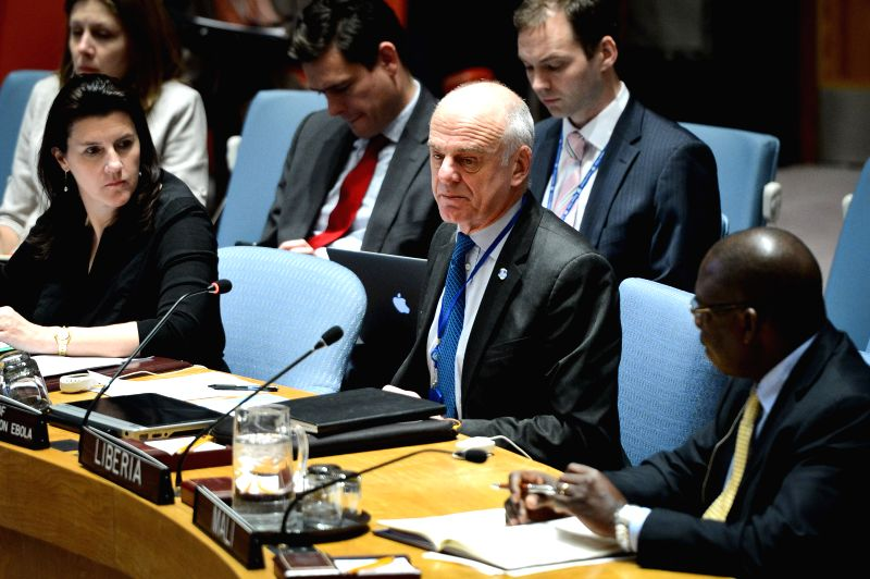 New York: David Nabarro, special envoy of the UN Secretary-General on Ebola, speaks during a Security Council meeting on Ebola at the UN headquarters in New York on Nov. 21, 2014. The UN Security ...
