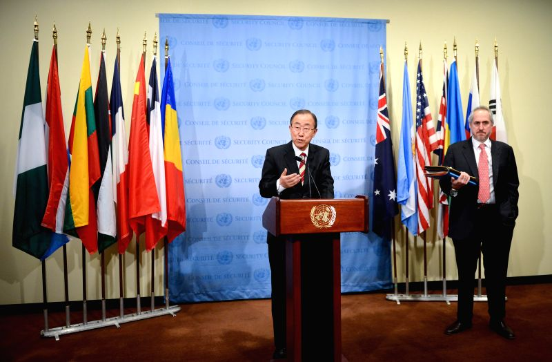 United Nations Secretary-General Ban Ki-moon speaks during a press briefing regarding his recent trip to the Ebola-hit region in West Africa, at the UN ...