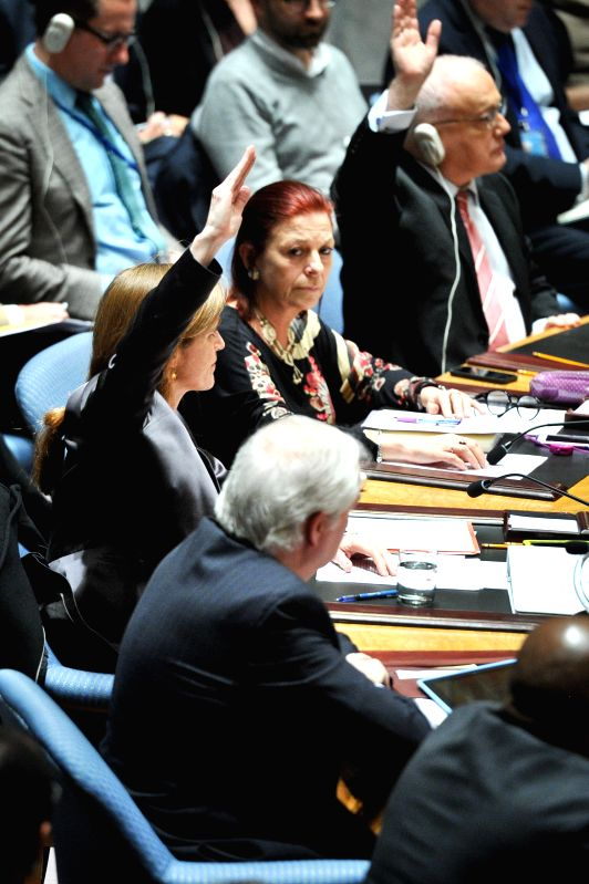 US Permanent Representative to the United Nations Samantha Power (center L) and her Australian counterpart Gary Quinlan (upper R) vote against a ...