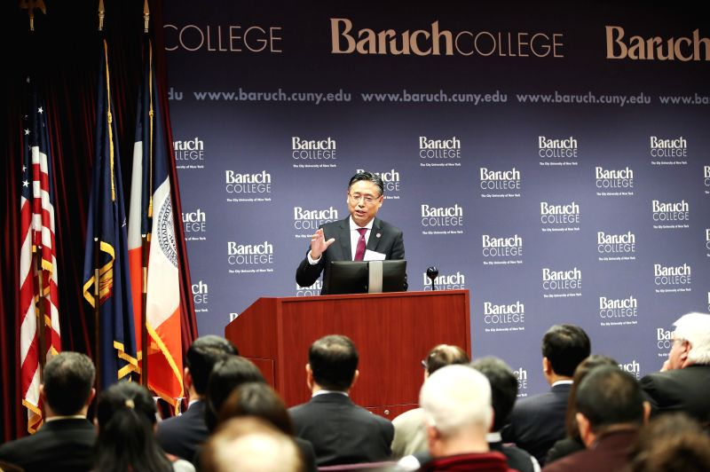NEW YORK, Dec. 7, 2017 - Jiang Feng, chairman of Shanghai International Studies University Council, speaks during the launching ceremony of Confucius Institute for Global Finance in Baruch College in ...