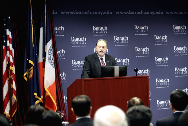 NEW YORK, Dec. 7, 2017 - Mitchel B. Wallerstein, president of Baruch College, speaks during the launching ceremony of Confucius Institute for Global Finance in Baruch College in New York, the United ...