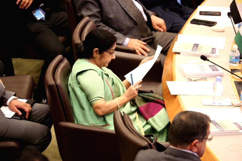 New York: External Affairs Minister Sushma Swaraj during the UN General Assembly Session in New York on Sept 20, 2017. (Photo: Mohammed Jaffer/IANS)