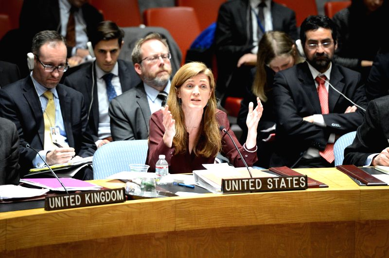 U.S. Permanent Representative to the United Nations Samantha Power (C) speaks during a Security Council meeting regarding the Ukrainian crisis, at the UN ...