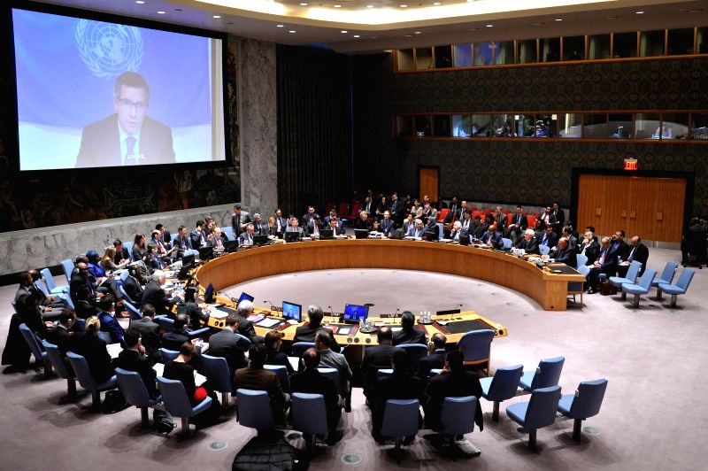 The UN envoy to Libya Bernardino Leon briefs the Security Council via video link during a Security Council meeting on the situation in Libya at the United Nations ...