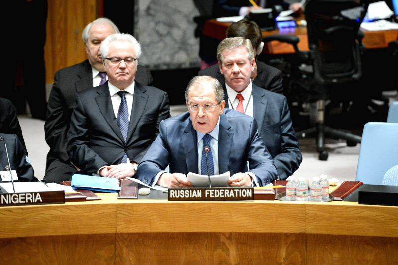 Russian Foreign Minister Sergey Lavrov (C) speaks during a UN Security Council meeting on the maintenance of international peace and security, at the UN ... - Sergey Lavrov