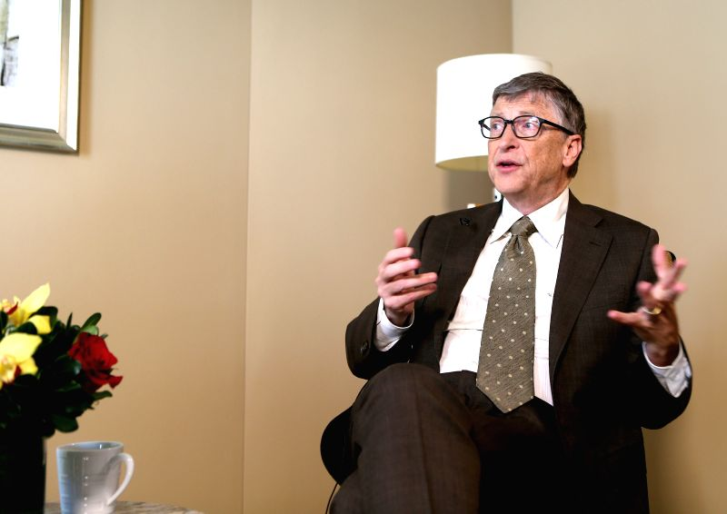 Bill Gates receives an exclusive interview with Xinhua in New York, the United States, on Jan. 21, 2015. The next 15 years will see major breakthroughs in health, .