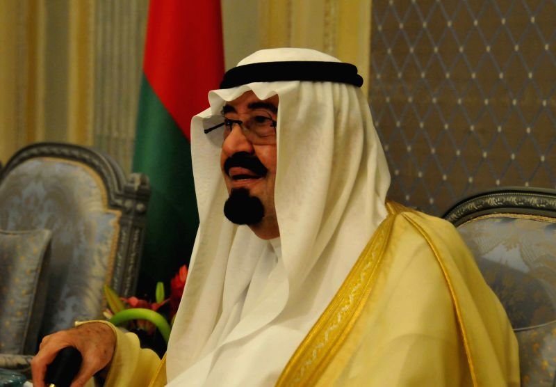 Filed photo taken on May 10, 2011 shows Saudi Arabia's King Abdullah attends the opening session of the Gulf Cooperation Council summit (GCC) in Riyadh, Saudi ...
