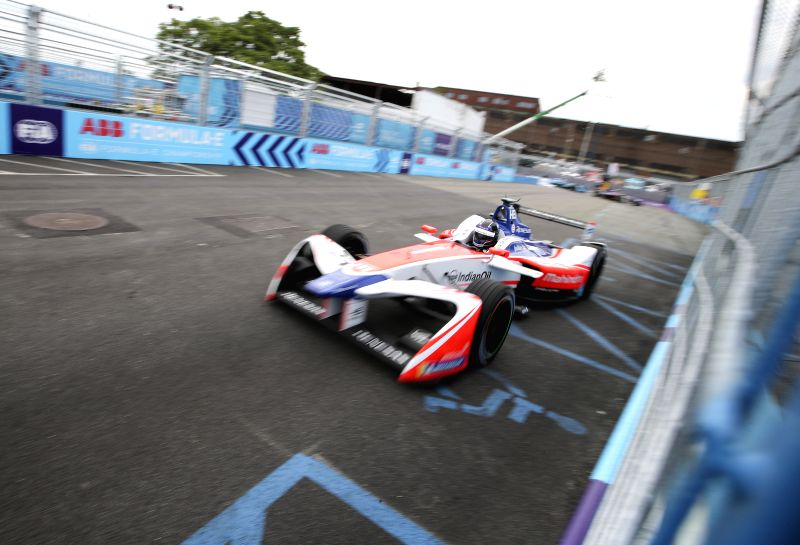 NEW YORK, July 17, 2018 - A Formula E racing car of the team Mahinrda Racing competes during the final race of all-electric Formula E season in New York, the United States, July 15, 2018.
