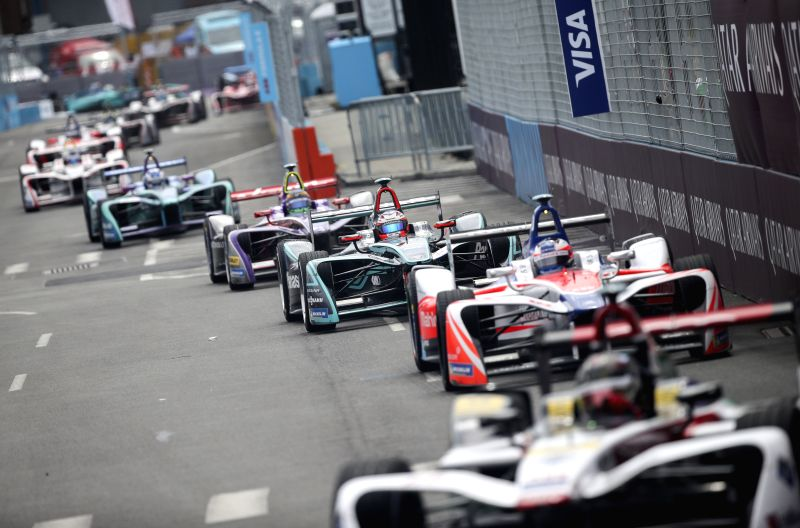 NEW YORK, July 17, 2018 - Formula E cars compete during the final race of all-electric Formula E season in New York, the United States, July 15, 2018.
