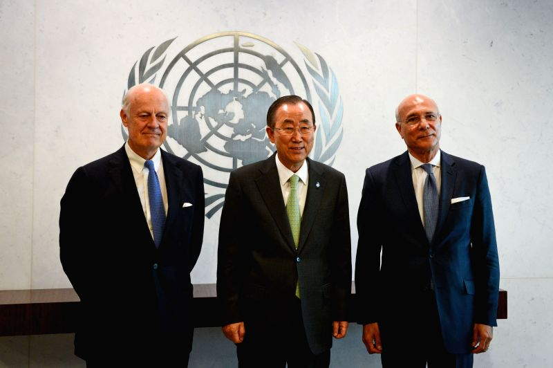 United Nations Secretary-General Ban Ki-moon (C) poses for a picture with his Special Envoy for Syria Staffan de Mistura (L) and Deputy Special Envoy for Syria ...