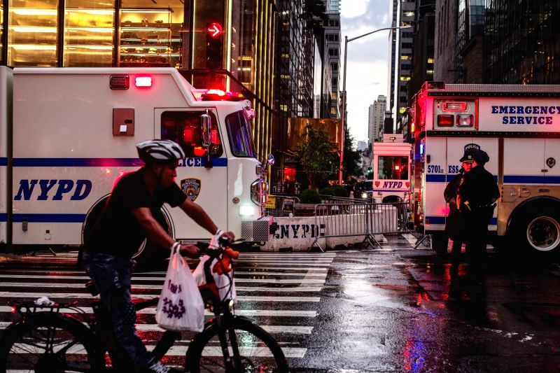 NEW YORK, July 27, 2018 - Police stand guard in front of the Trump Tower in New York, the United States, July 27, 2018. Several suspicious packages found at the Trump Tower in Manhattan were under ...