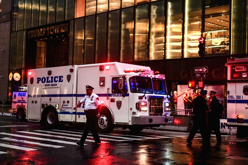 NEW YORK, July 27, 2018 - Police stand guard outside the Trump Tower in New York, the United States, July 27, 2018. Several suspicious packages found at the Trump Tower in Manhattan were under ...