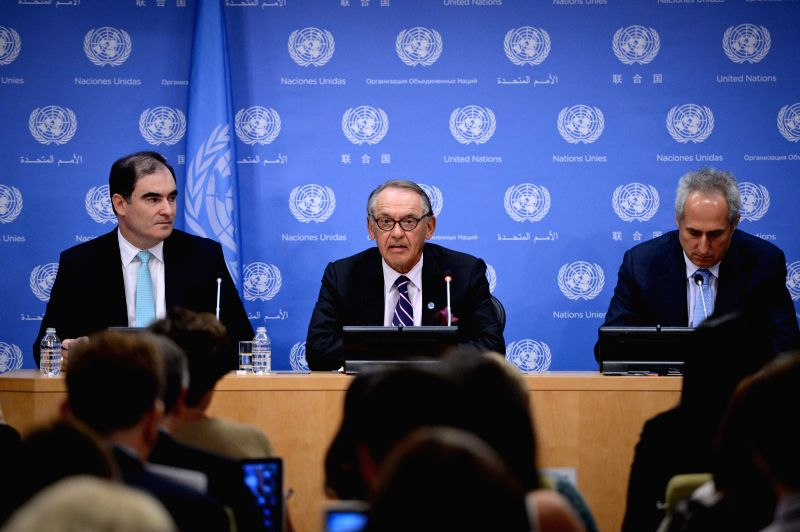 "UN Deputy Secretary-General Jan Eliasson (C) speaks during a press briefing at the UN headquarters in New York, on July 30, 2014. ""Enough is enough,"" UN ."