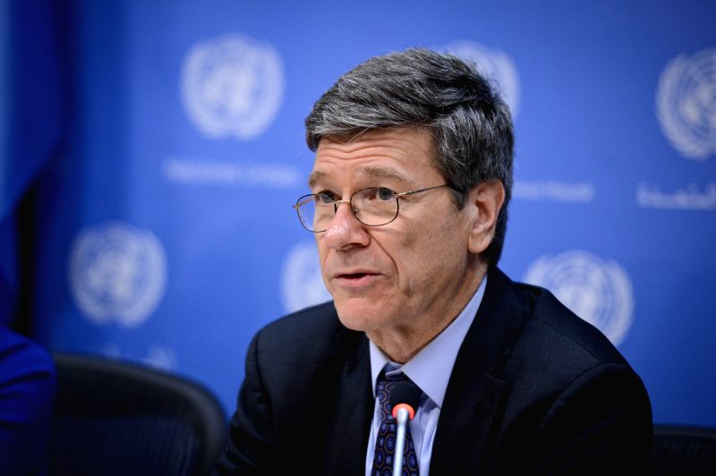 Jeffrey Sachs, director of the Sustainable Development Solutions Network (SDSN) of Columbia University's Earth Institute, speaks during a press conference on the ...