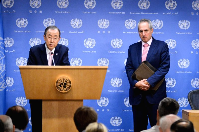 United Nations Secretary-General Ban Ki-moon (L) speaks during a press briefing on developments in the Middle East at the UN headquarters in New York, on July 9, ...